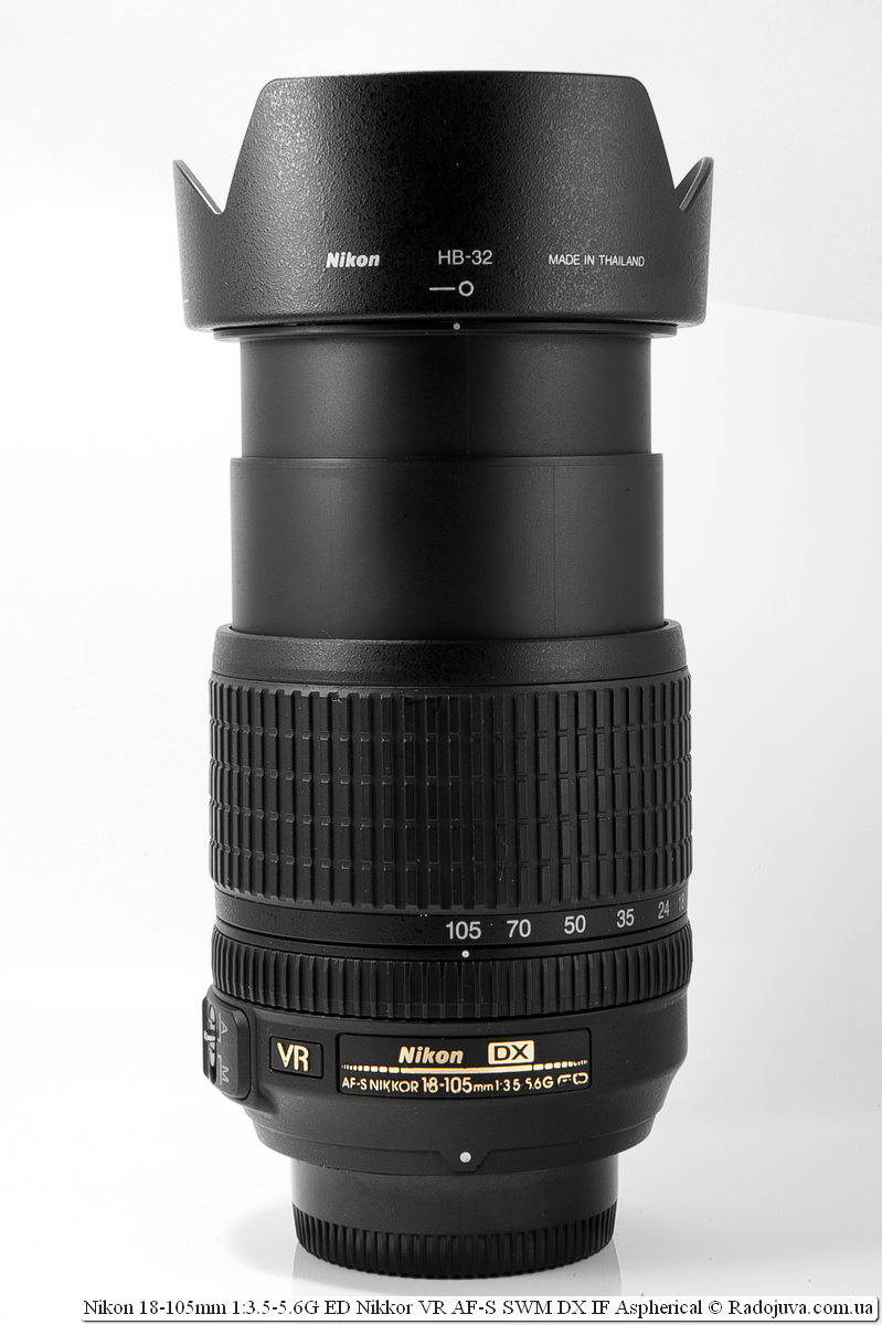 Nikon Nikkor dx 18-105mm with the most extended frame of the case and the established hood