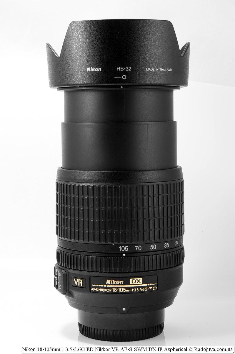 Nikon Nikkor dx 18-105mm с максимально выдвинутой оправой корпуса и установленной блендой