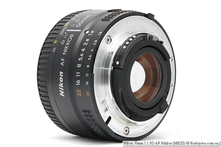 Nikon 50mm 1:1.8D AF Nikkor (MKIII), контакты микропроцессора, вид сзади