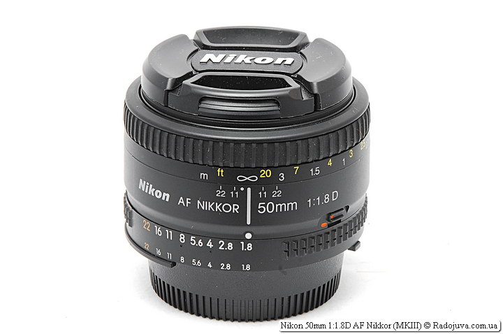 Nikon 50mm 1: 1.8D AF Nikkor (MKIII) with front and rear cover