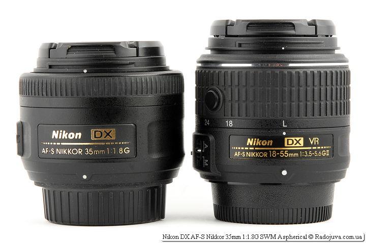 Размеры Nikon DX AF-S Nikkor 35mm 1:1.8G SWM Aspherical и китового объектива Nikon 18-55mm 1:3.5-5.6GII VR II AF-S DX Nikkor
