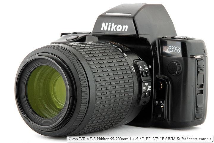 Вид объектива Nikon DX AF-S Nikkor 55-200mm 1:4-5.6G ED VR IF SWM на камере