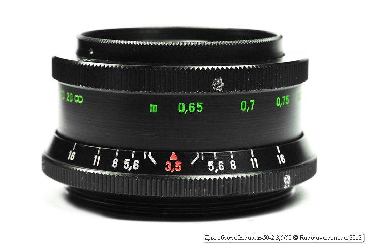 Вид объектива Индустар-50-2 при фокусировке на МДФ