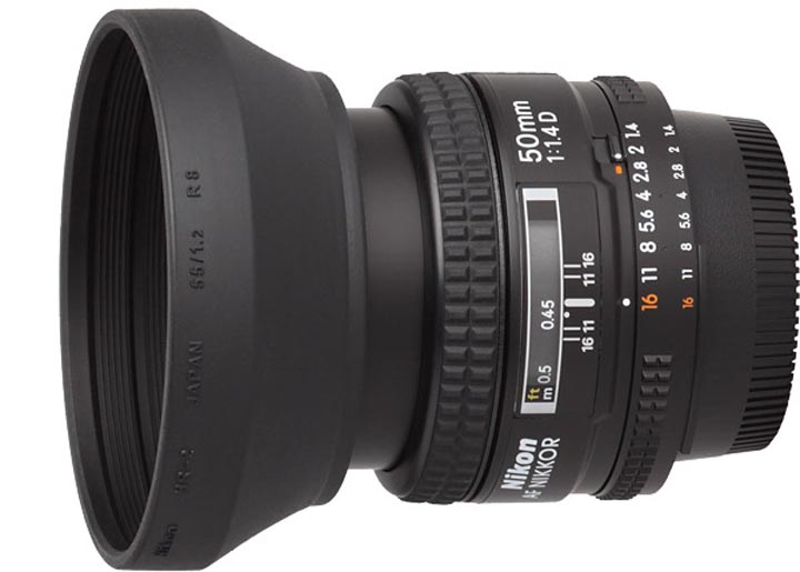 Вид объектива Nikon 50mm 1:1.4D