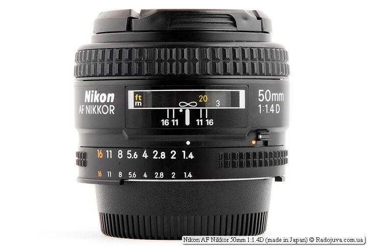 Nikon AF Nikkor 50mm 1:1.4D (made in Japan) при фокусировке на бесконечность
