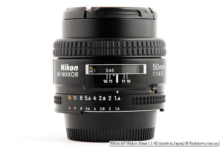 Nikon AF Nikkor 50mm 1: 1.4D (made in Japan) when focusing on MDF