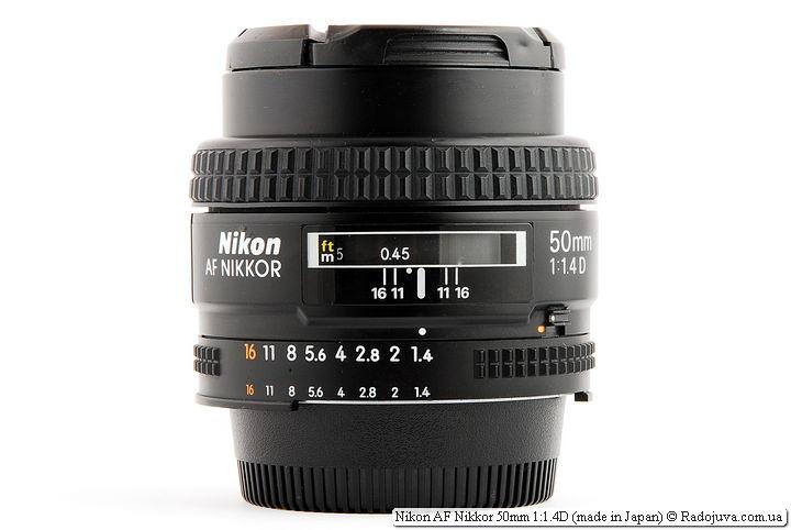 Nikon AF Nikkor 50mm 1:1.4D (made in Japan) при фокусировке на МДФ