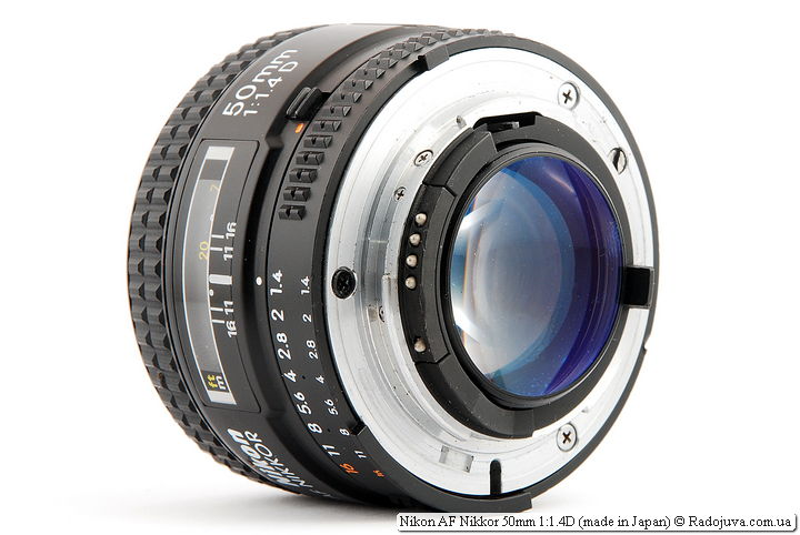 Nikon AF Nikkor 50mm 1: 1.4D (made in Japan), rear view