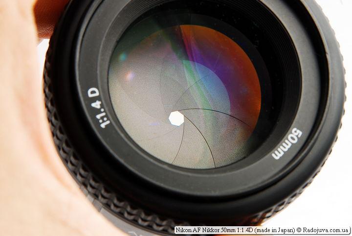 Просветление и лепестки диафрагмы Nikon AF Nikkor 50mm 1:1.4D (made in Japan)