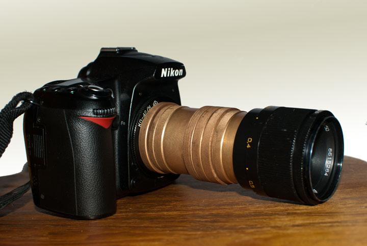 Вид фотоаппарата с макрокольцами