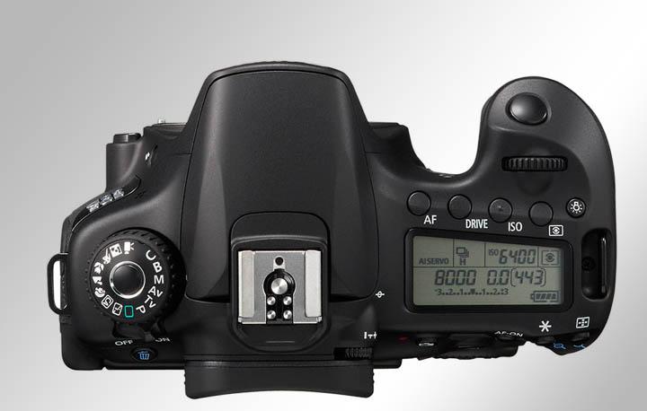 Вид камеры Canon 60D сверху