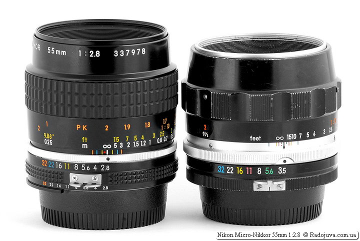 Nikon Micro-Nikkor 55mm 1:2.8 и Nippon Kogaku Japan Micro-Nikkor Auto 1:3.5 f=55mm