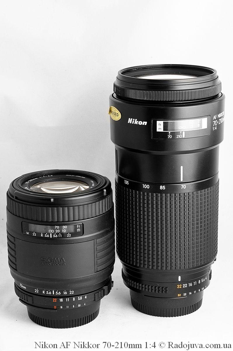 Sigma Auto Focus UC ZOOM 70-210mm 1:4-5.6 Multi-Coated и Nikon AF Nikkor 70-210mm 1:4