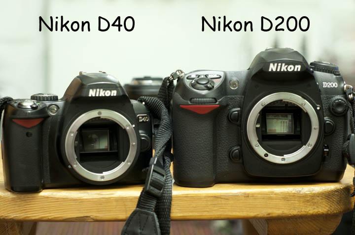 Сравнение размеров камер Nikon D200 и Nikon D40