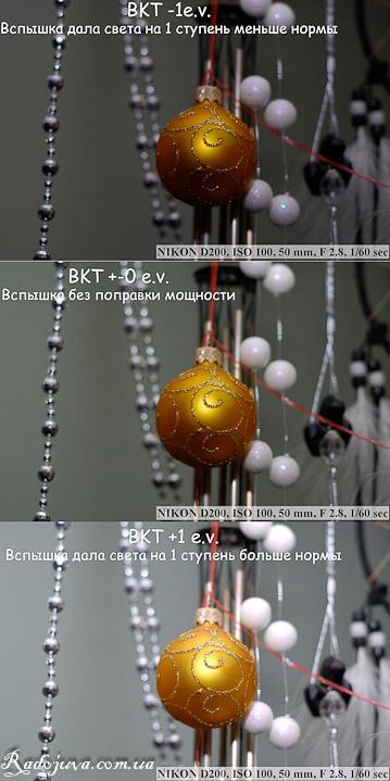Брекетинг экспозиции по 3 снимкам с изменением мощности вспышки (режим BKT вспышка)