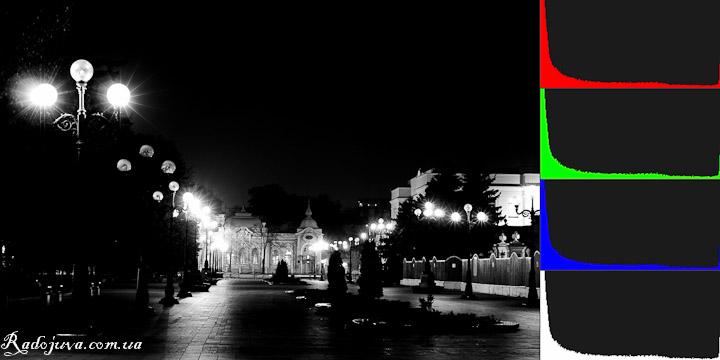Темных участков на фото больше, чем светлых. Пик гистограммы сдвинут влево