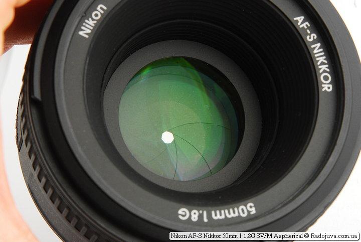 Просветление передней линзы и лепестки диафрагмы Nikon AF-S Nikkor 50mm 1:1.8G SWM Aspherical