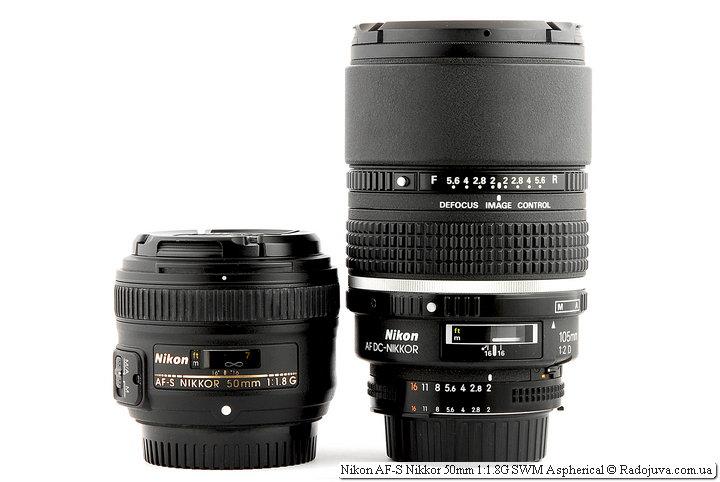 Полтинник Nikon AF-S Nikkor 50mm 1:1.8G SWM Aspherical и настоящий портретный объектив Nikon AF DC-Nikkor 105mm 1:2 D Defocus Image Control