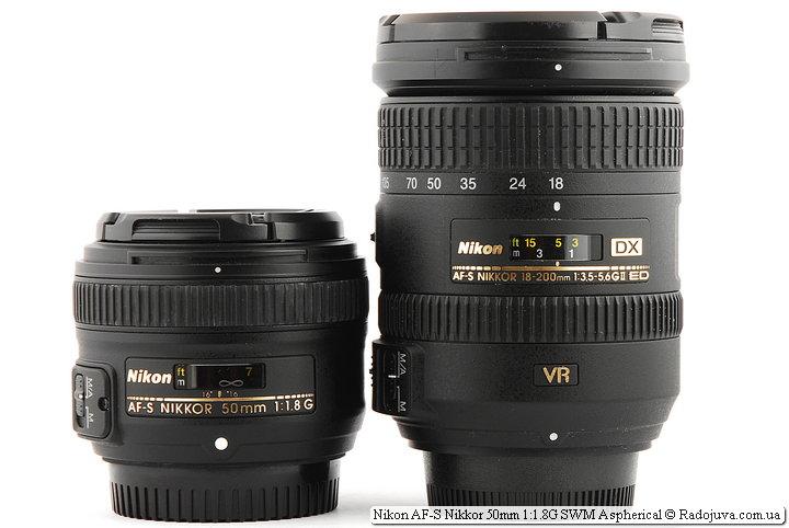 Фикс объектив Nikon AF-S Nikkor 50mm 1:1.8G SWM Aspherical и универсальный объектив Nikon DX AF-S Nikkor 18-200mm 1:3.5-5.6GII ED SWM VR IF Aspherical