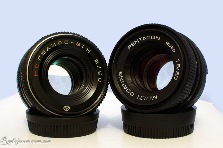 The difference in size Pentacon auto 1.8 50 Multi coating and Helios-81N