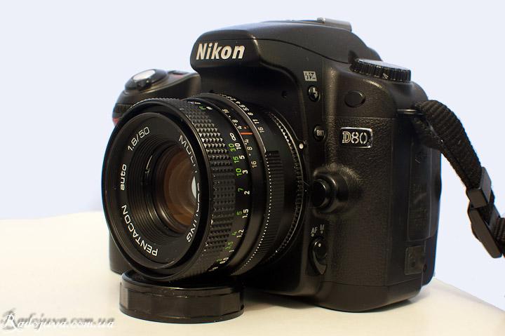 Вид Pentacon auto 1.8 50 Multi coating на современной камере