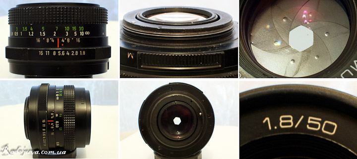 View of Pentacon auto 1.8 50 Multi coating from different angles