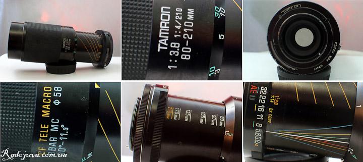 Вид Tamron 80-210mm F3.8-4 Macro с разных сторон