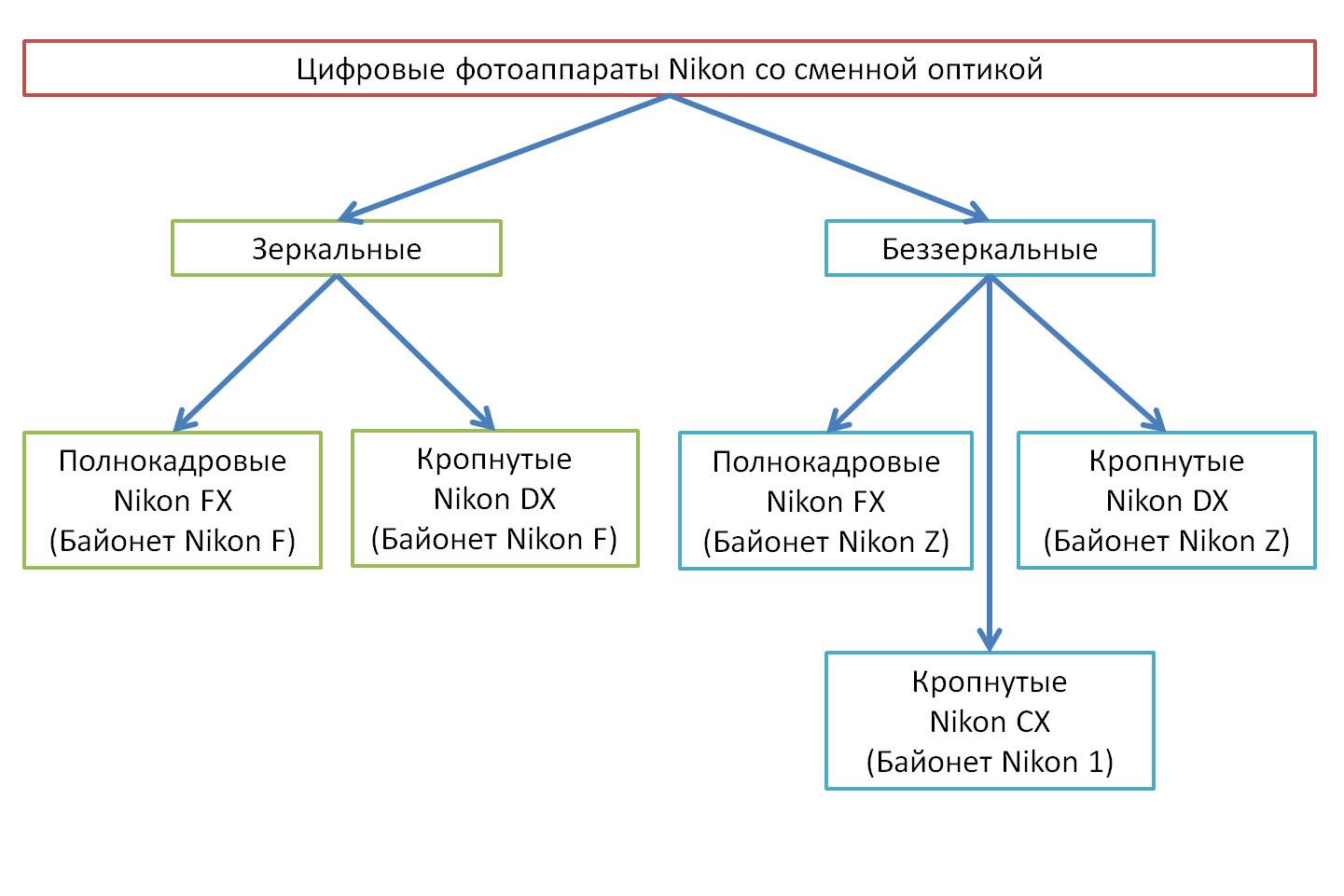 Основное разделение фотоаппаратов Nikon со сменными объективами