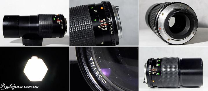 Вид объектива Cosina 200mm 1:4 MC Cosinon-T с разных сторон