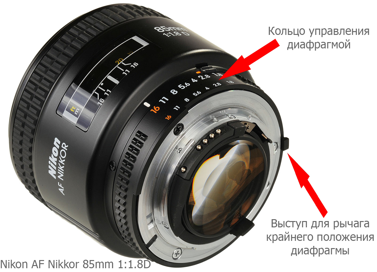 Выступ для считывания крайнего положения кольца диафрагмы на объективе Nikon AF Nikkor 85mm 1:1.8D, который является объективом NON-G типа, то есть, таким, у которого есть кольцо управления диафрагмой.