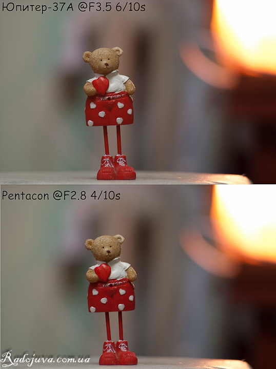 Разница в картинке Pentacon auto 2.8 135 и Jupiter-37a