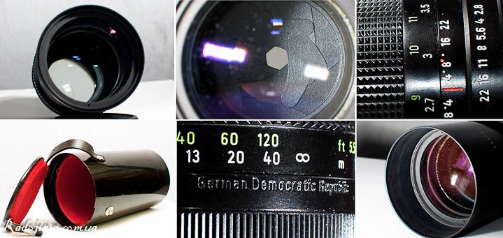 Вид футляра объектива Pentacon auto 2.8 135 MC, самого ообъектива и его диафрагмы