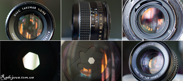 Вид объектива SMC Takumar F2 55mm