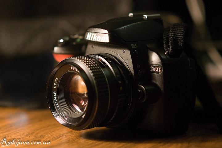 Вид объектива SMC Takumar F2 55mm на современной камере
