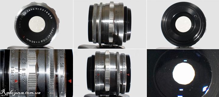Вид CZJ Tessar 50mm 1:2,8 T с разных сторон