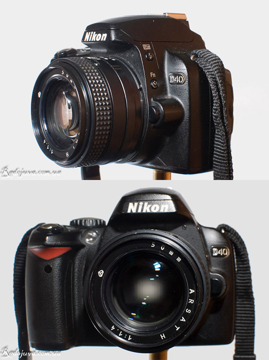 Вид объектива МС Гелиос-123Н 1.4 50 на современной камере