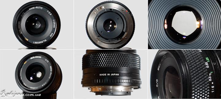 Вид MC Soligor Wide-Auto 1:2.8 F=28mm с разных сторон