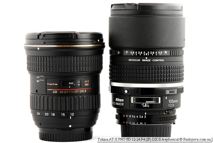 Размеры Tokina AT-X PRO SD 12-24 F4 (IF) DX II Aspherical и Nikon AF DC-Nikkor 105mm 1:2 D Defocus Image Control