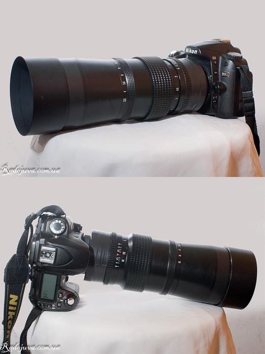 Вид объектива Юпитер-36В на современной камере