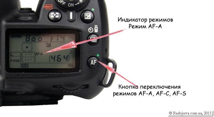 Переключатель режимов AF-A, AF-C, AF-S на камере Nikon D90