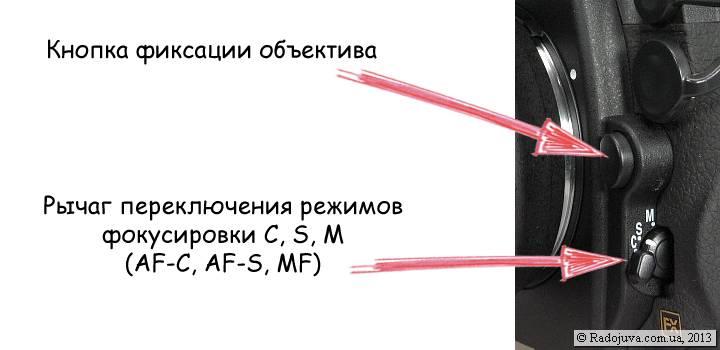 Переключатель режимов фокусировки на Nikon D700