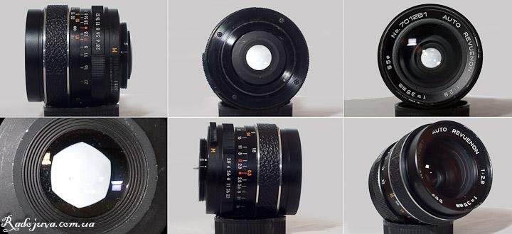 Вид Auto Revuenon 35mm 2.8 с разных сторон