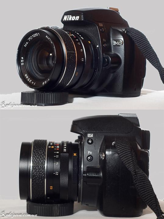 Вид Auto Revuenon 35mm 2.8 на камере Nikon D40
