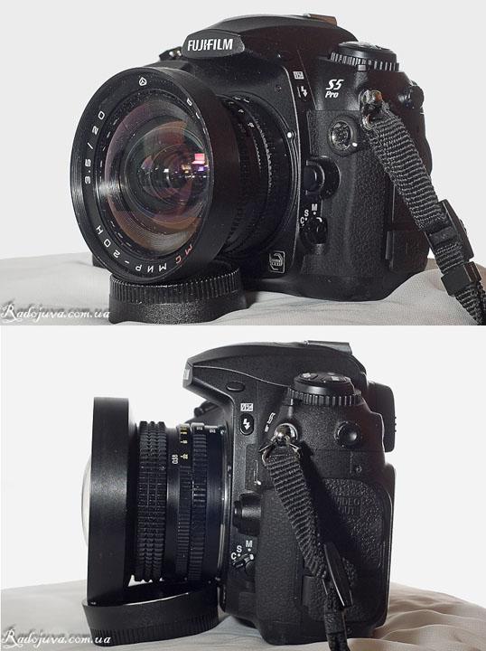Вид МС Мир-20Н 3.5/20 с разных сторон на современной камере