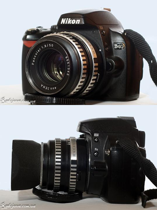 Pancolar 50mm 1.8 ausJena - вид на камере Nikon D40