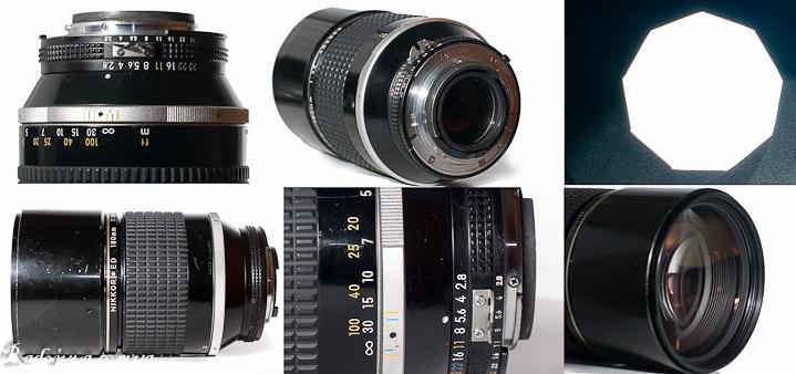Nikon 180mm 1:2.8 ED Nikkor вид с разных сторон. Вид диафрагмы