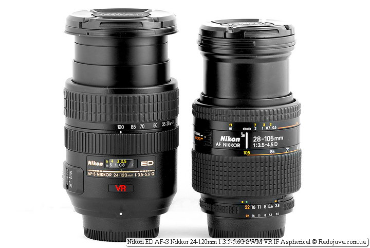 Nikon ED AF-S Nikkor 24-120mm 1:3.5-5.6G SWM VR IF Aspherical и Nikon AF Nikkor 28-105mm 1:3.5-4.5D