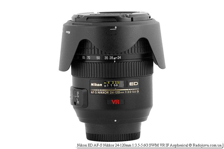 Nikon 24-120/3.5-5.6 VR с блендой в режиме транспортировки