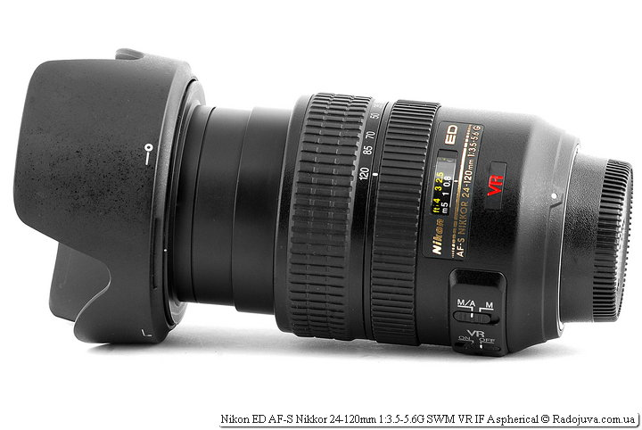 Nikon ED AF-S Nikkor 24-120mm 1:3.5-5.6G SWM VR IF Aspherical с блендой