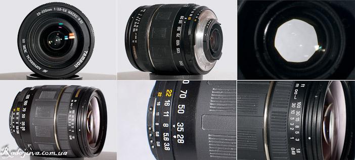Вид Tamron 28-200mm F3.8-5.6 с разных сторон